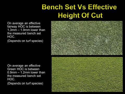 bench set vs effective height of cut